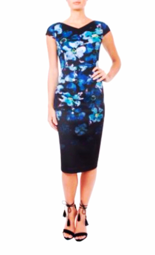 floral watercolour Anthea Crawford dress
