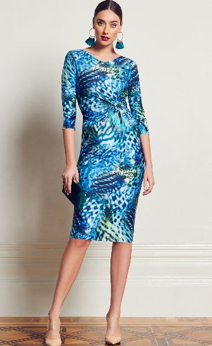 Anthea Crawford   wedding guest, Elegant day wear. sea leopard