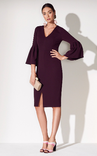 Anthea Crawford berry crepe dress front view