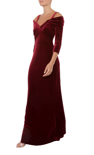 Anthea Crawford ruby velour gown side view
