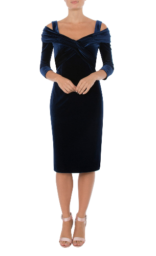 Anthea Crawford saphire velour drape dress front view