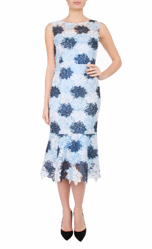 Anthea crawford mother of the bride and groom blue three tone guipere lace dress-280